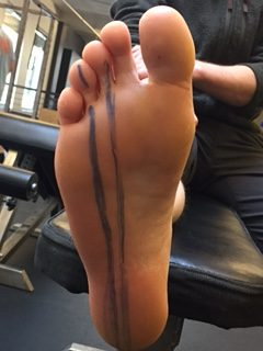 Foot with racing stripe.