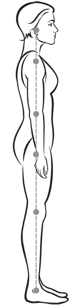 Good posture as a vertical line along your body.